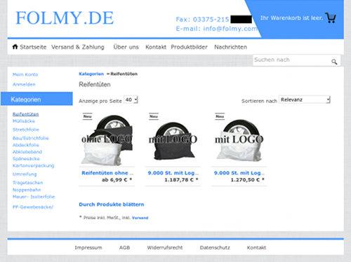 Screenshot der Angebote mit den Reifentüten vom in der Spam verlinkten Webshop