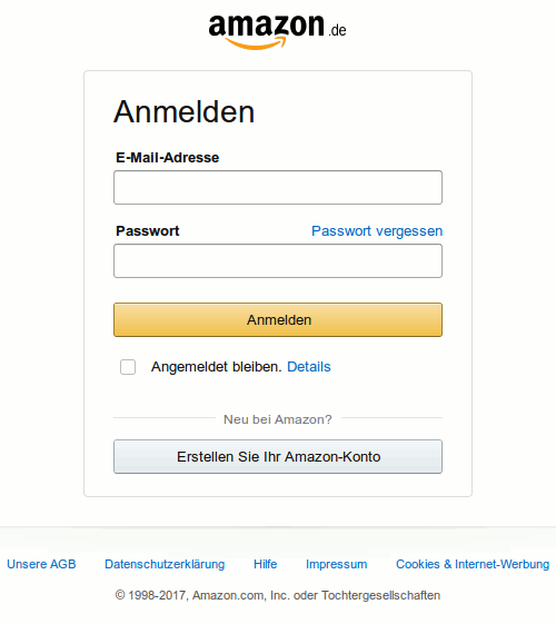 Screenshot der Anmeldemaske der Phishing-Site