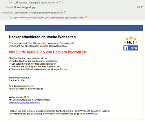 Screenshot der Darstellung dieser Mail im Thunderbird