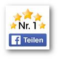 Detail aus der Spam: Fünf Sterne, unter denen Nr. 1 steht, darunter ein nachgemachter Teilen-Button von Facebook