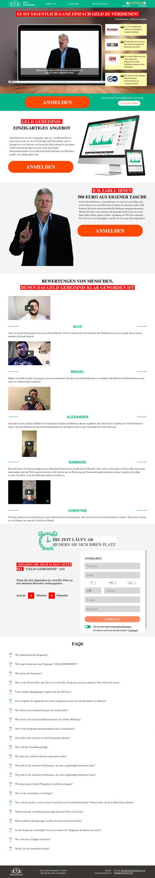 Screenshot der durch Spam beworbenen Website für eine Reichwerdmethode