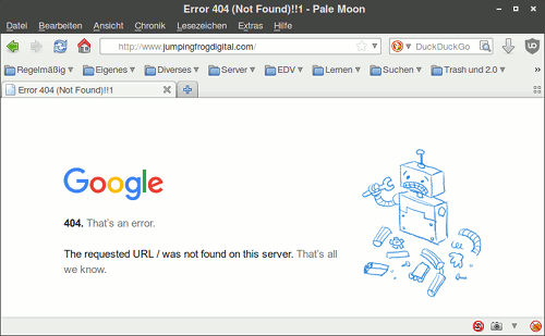Screenshot der Website unter jumpingfrogdigital.com mit einer Google-Fehlermeldung: '404. That's an error. -- The requested URL / was not found on this server. That's all we know'.