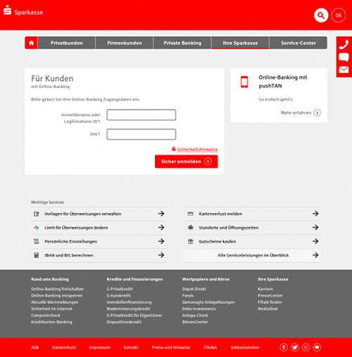 Screenshot der Phishing-Seite im Design der Sparkasse