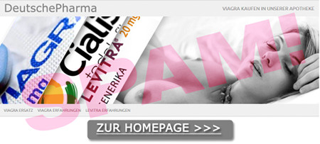 Deutsche Pharma -- teilweise abgebildete Packungen Viagra, Cialis, Levitra -- Halbpornografisches Foto einer Frau mit entblößten Brüsten