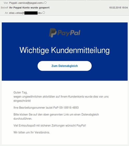 Screenshot der HTML-Darstellung der Spam in einer Mailsoftware