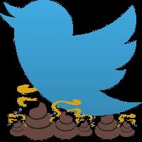 Das Twitter-Logo, das blaue Vöglein, mit Kackhäufchen darunter