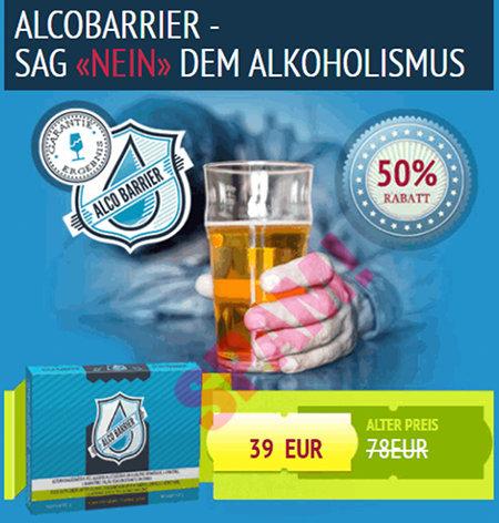 Grafik aus der Spam: ALCOBARRIER - SAG NEIN DEM ALKOHOLISMUS -- 50% RABATT -- 39 EUR -- ALTER PREIS 78 EUR
