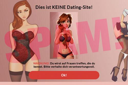 Screenshot der Dating-Seite. -- Diese ist KEINE Dating-Site! WARNUNG! Du wirst auf Frauen treffen, die du kennst. Bitte verhalte dich verantwortungsvoll. [Ok!]