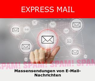 Detail aus der Website von 'Global Contact': EXPRESS MAIL -- Massensendungen von E-Mail-Nachrichten