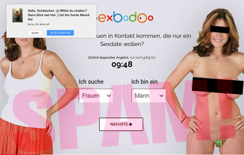 Screenshot der spambeworbenen Dating-Site SexBadoo