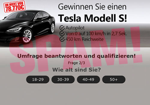 Gewinnen Sie einen Tesla Modell S! -- Autopilot, von 0 auf 100 km/h in 2,7 Sekunden, 450 km Reichweite -- Umfrage beantworten -- Frage 2 von 3 -- Wie alt sind Sie? [18-29] [30-39] [40-49] [50+]