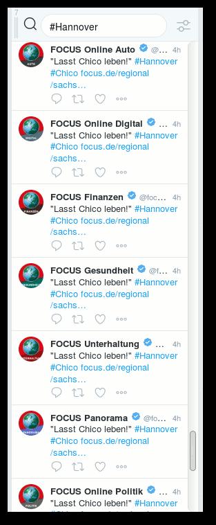 FOCUS Online Auto: Lasst Chico leben! #Hannover #Chico; FOCUS Online Digital: Lasst Chico leben! #Hannover #Chico; FOCUS Finanzen: Lasst Chico leben! #Hannover #Chico; FOCUS Gesundheit: Lasst Chico leben! #Hannover #Chico; FOCUS Unterhaltung: Lasst Chico leben! #Hannover #Chico; FOCUS Panorama: Lasst Chico leben! #Hannover #Chico; FOCUS Online Politik: Lasst Chico leben! #Hannover #Chico