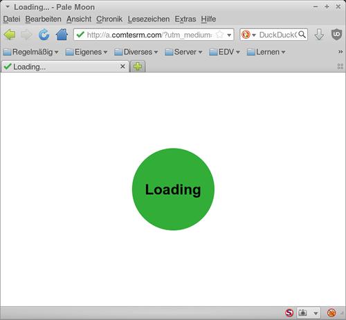 Screenshot des Browserfensters. Leerer Bildschirm mit einem grünen Kreis und dem Hinweis 'Loading'