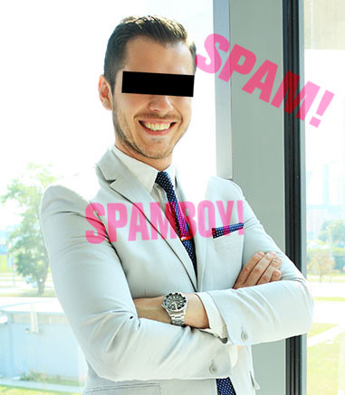 Foto eines Mannes, der gewiss nicht wie der Spammer aussieht -- ich tippe darauf, dass das Foto irgendwo aus dem Internet 'mitgenommen' wurde