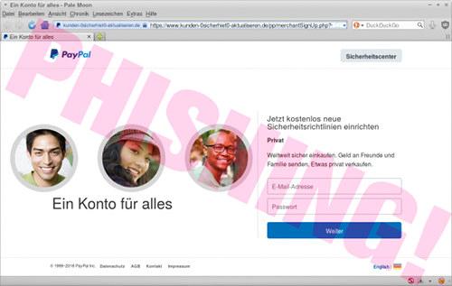 Screenshot der Darstellung der Phishing-Seite im Browserfenster, man beachte das Schlösschen in der Adresszeile