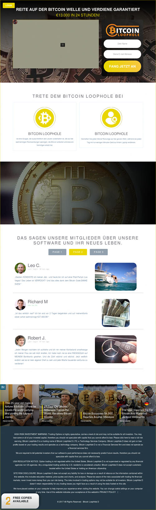 Screenshot der betrügerischen Website Bitcoin Loophole