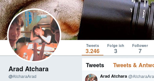 @AtcharaArad -- Tweets: 3246, Folge ich: 3, Follower: 7