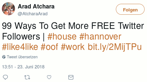 Tweet von @AtcharaArad, 23. Juni 2018, 13:51 Uhr: 99 Ways To Get More FREE Twitter Followers | #house #hannover #like4like #oof #work http://bit.ly/2MijTPu