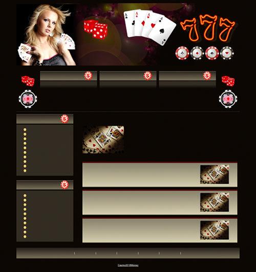 Screenshot der in einer Kommentarspam verlinkten Website. Es handelt sich um ein vollständiges Design für eine vorgebliche Casino-Site, aber es fehlen jegliche Texte und Inhalte.