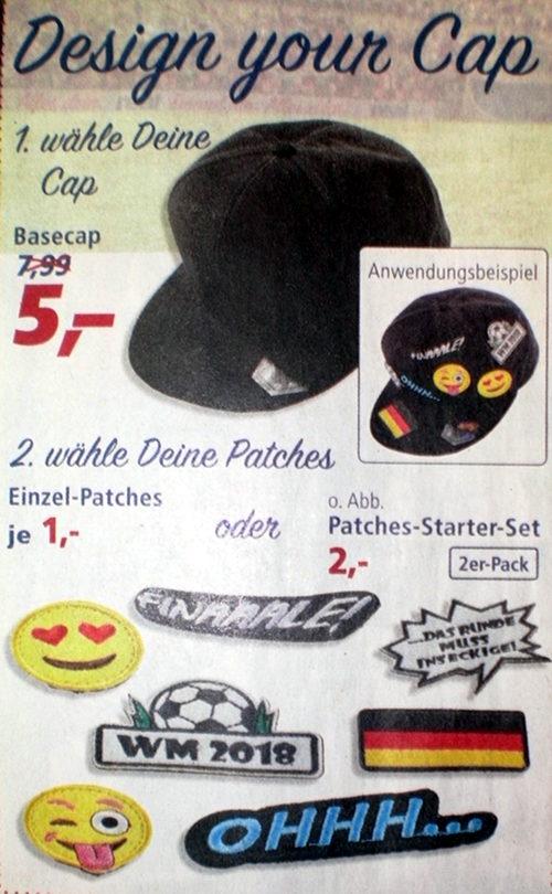 Design your Cap: Ein Baseballkäppi mit verschiedenen Fußball-bezogenen Stickern verzieren lassen