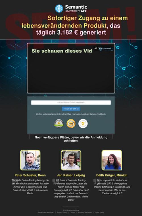Screenshot der betrügerischen Website Semantic Investment App