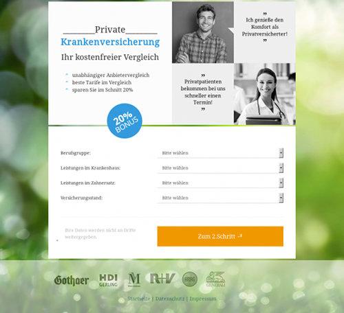 Screenshot der betrügerischen Website mit dem angeblichen Vergleich privater Krankenversicherungen