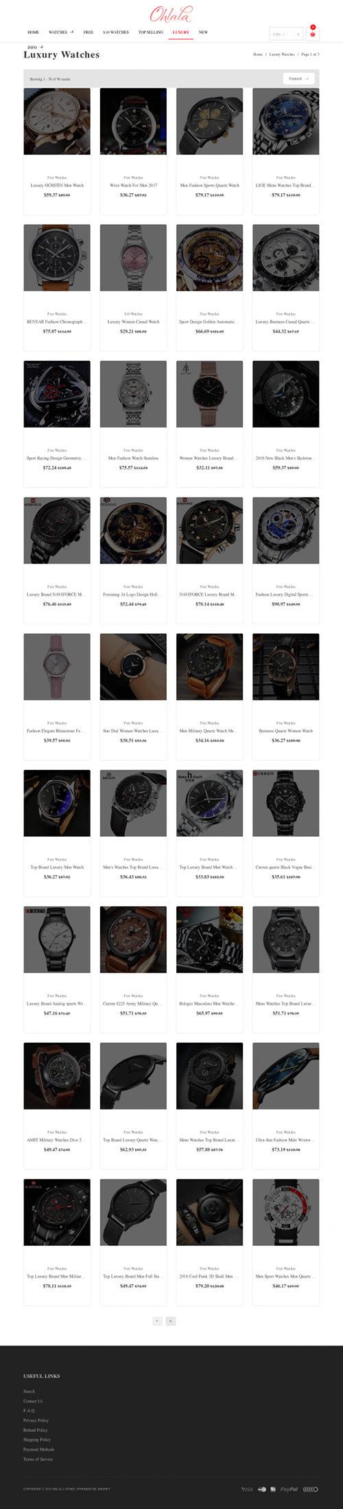 Screenshot der spambeworbenen Website für den angeblichen Verkauf von kostenlosen Markenuhren