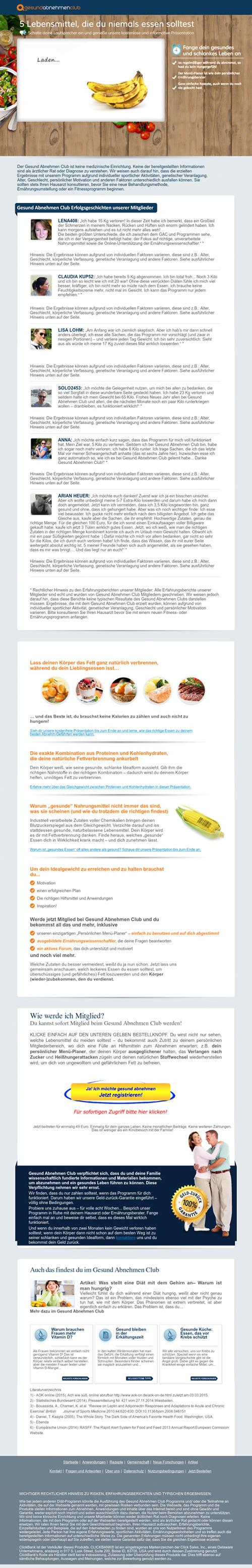 Screenshot der mit Spam beworbenen Website Gesund Abnehmen Club