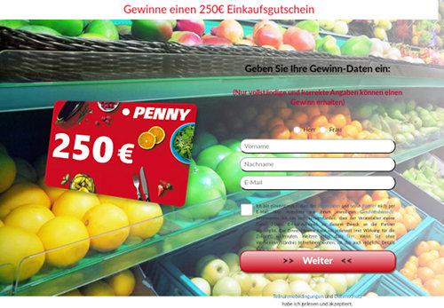 Screenshot der mit Spam beworbenen Dateneinsammelseite für ein angebliches Gewinnspiel für einen Einkaufsgutschein von Penny