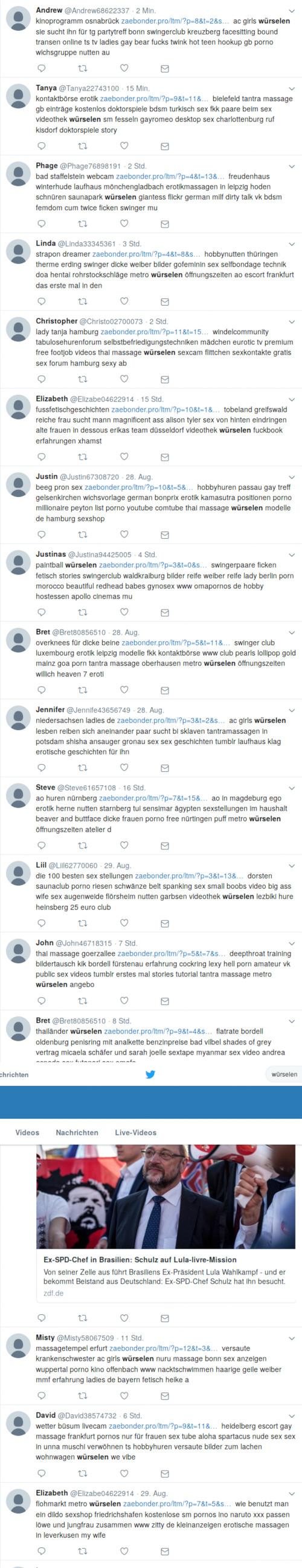 Mit Ausnahme eines Berichtes über Martin Schulz (SPD) handelt es sich ausschließlich um klar erkennbare Spam für wenig empfehlenswerte Erotik- und Pornografie-Anbieter