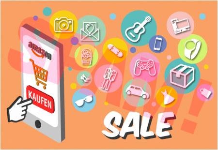In die Spam integrierte Grafik zeigt einen Finger, der auf einen Button 'Kaufen' unter einem Amazon-Logo auf einem Smartphone tippt, zur Linken daneben allerlei piktogrammartige Grafiken für käufliche Gegenstände und darunter das Wort 'SALE'.