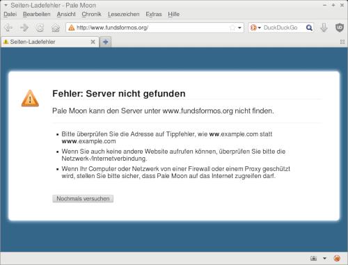 Fehlermeldung des Webbrowsers. Fehler: Server nicht gefunden