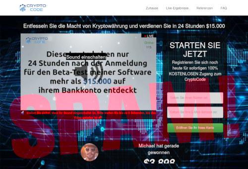 Screenshot der betrügerischen Website eines Affiliate-Bitcoin-Reichwerdexperten