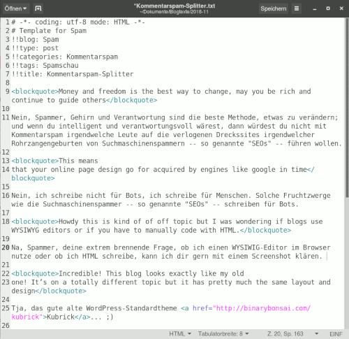 Screenshot meines Editors, im Editor entsteht gerade dieser Text in HTML