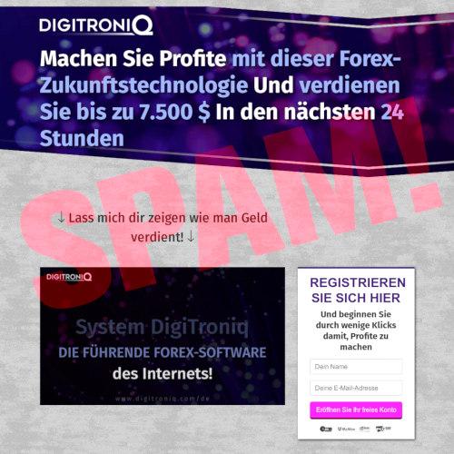 Screenshot der betrügerischen Website eines Reichwerdexperten
