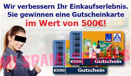 In die Spam eingebettete Grafik: Wir verbessern Ihr Einkaufserlebnis. Sie gewinnen eine Gutscheinkarte im Wert von 500€!