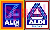 Die Logos von Aldi Nord und Aldi Süd