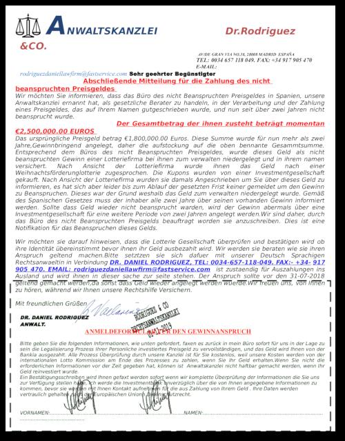 Erste Seite des PDF-Anhanges der Spam mit dem angeblichen Lotteriegewinn zur Einleitung eines Vorschussbetruges