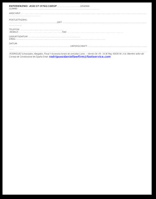Zweite Seite des PDF-Anhanges der Spam mit dem angeblichen Lotteriegewinn zur Einleitung eines Vorschussbetruges