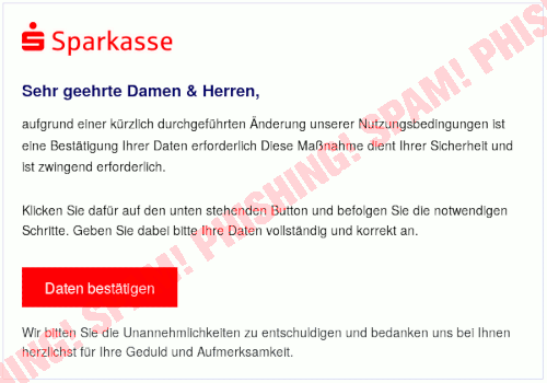 Screenshot der Phishing-Spam in HTML-Darstellung