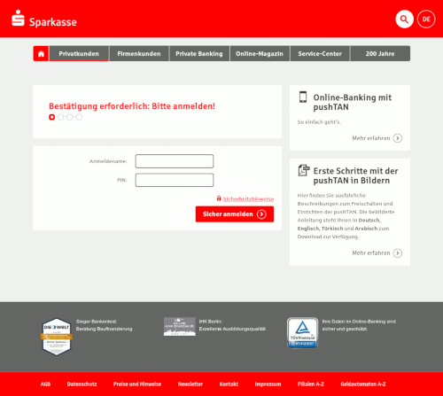 Screenshot der Phishing-Website