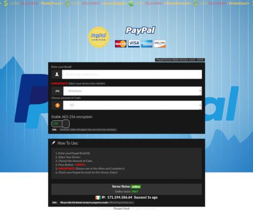 Screenshot der spambeworbenen Seite mit einem angeblichen PayPal-Hack
