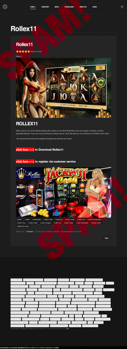 Screenshot der spambeworbenen Website mit Casinobildern und Download-Angeboten