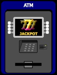Clipart eines Geldautomaten, in dessen Display drei Siebenen und das Wort 'Jackpot' angezeigt werden