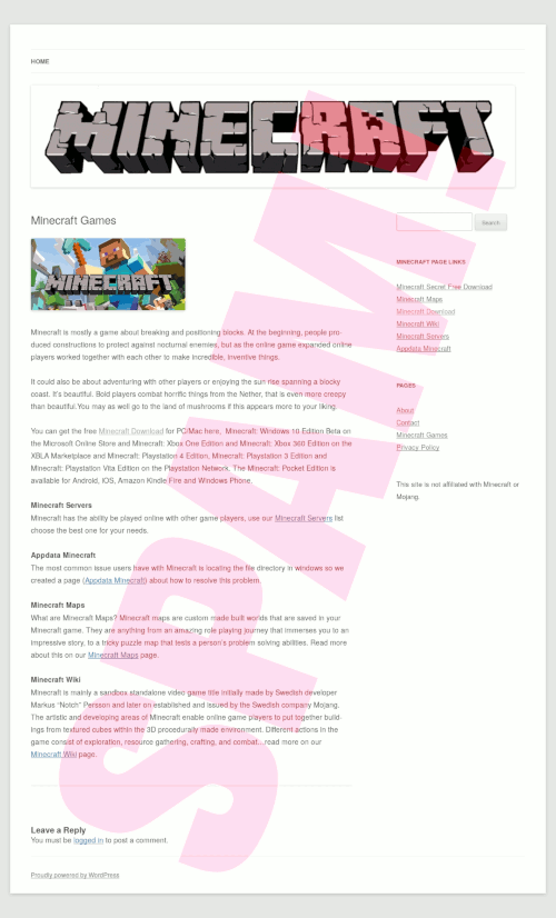 Screenshot der spambeworbenen angeblichen Minecraft-Website