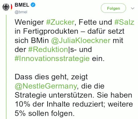 Weniger #Zucker, Fette und #Salz in Fertigprodukten – dafür setzt sich BMin @JuliaKloeckner mit der #Reduktion|s- und #Innovationsstrategie ein. Dass dies geht, zeigt @NestleGermany, die die Strategie unterstützen. Sie haben 10% der Inhalte reduziert; weitere 5% sollen folgen.