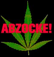 Clipart: Hanfblatt und das Wort ABZOCKE