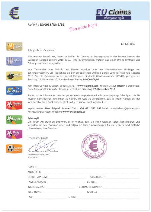 PDF mit einer angeblichen Gewinnbenachrichtigung einer Lotterie, das zur Einleitung eines Vorschussbetruges an eine E-Mail angehängt war