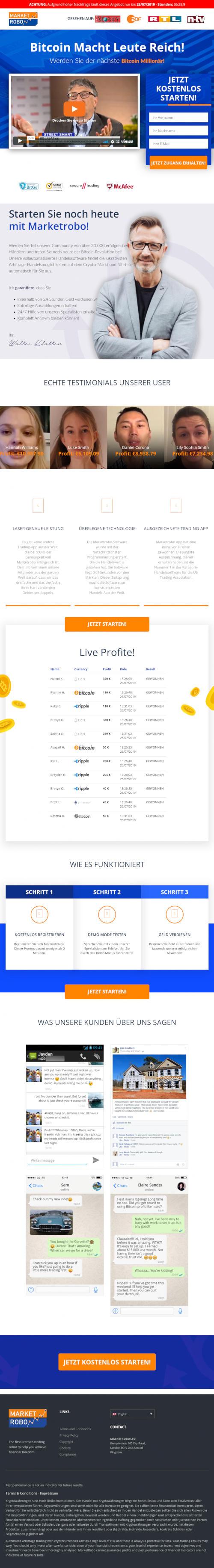 Screenshot der betrügerischen Website für das Bitcoin-Reichwerdverfahren MarketRobo