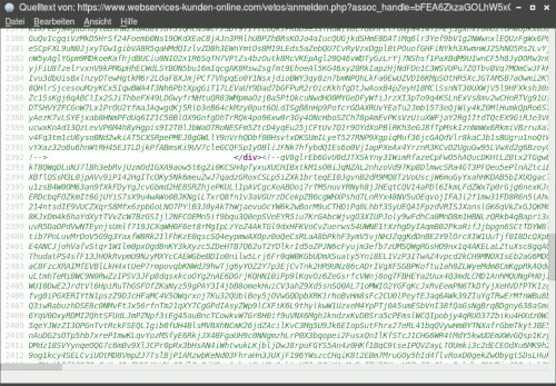 Screenshot des Quelltextdarstellung mit dem Quelltext der Phishing-Seite